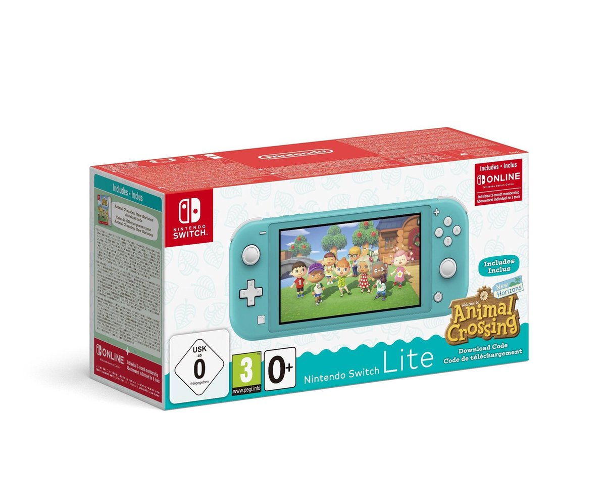 Nintendo Switch Lite Turkoois Incl. Animal Crossing: New Horizons & Nintendo Switch Online - Limited