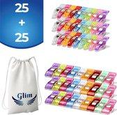 Glim® Originele Wonderclips - Small + Breed - Wonder clips - Kleine knijpertjes - Vervanging voor spelden - Naaien - 50 stuks - INCLUSIEF Opbergzak