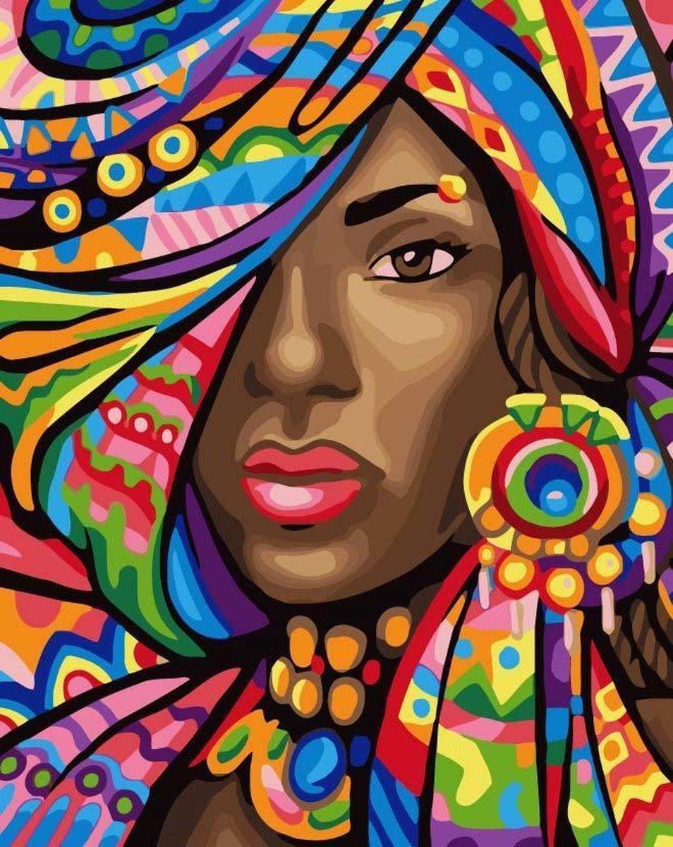 Joeni® - Schilderen Op Nummer - 40x50cm - Geschenkverpakking - Exotische Dame   Paint By Numbers Volwassenen - Mensen - Abstract - Kleurrijk