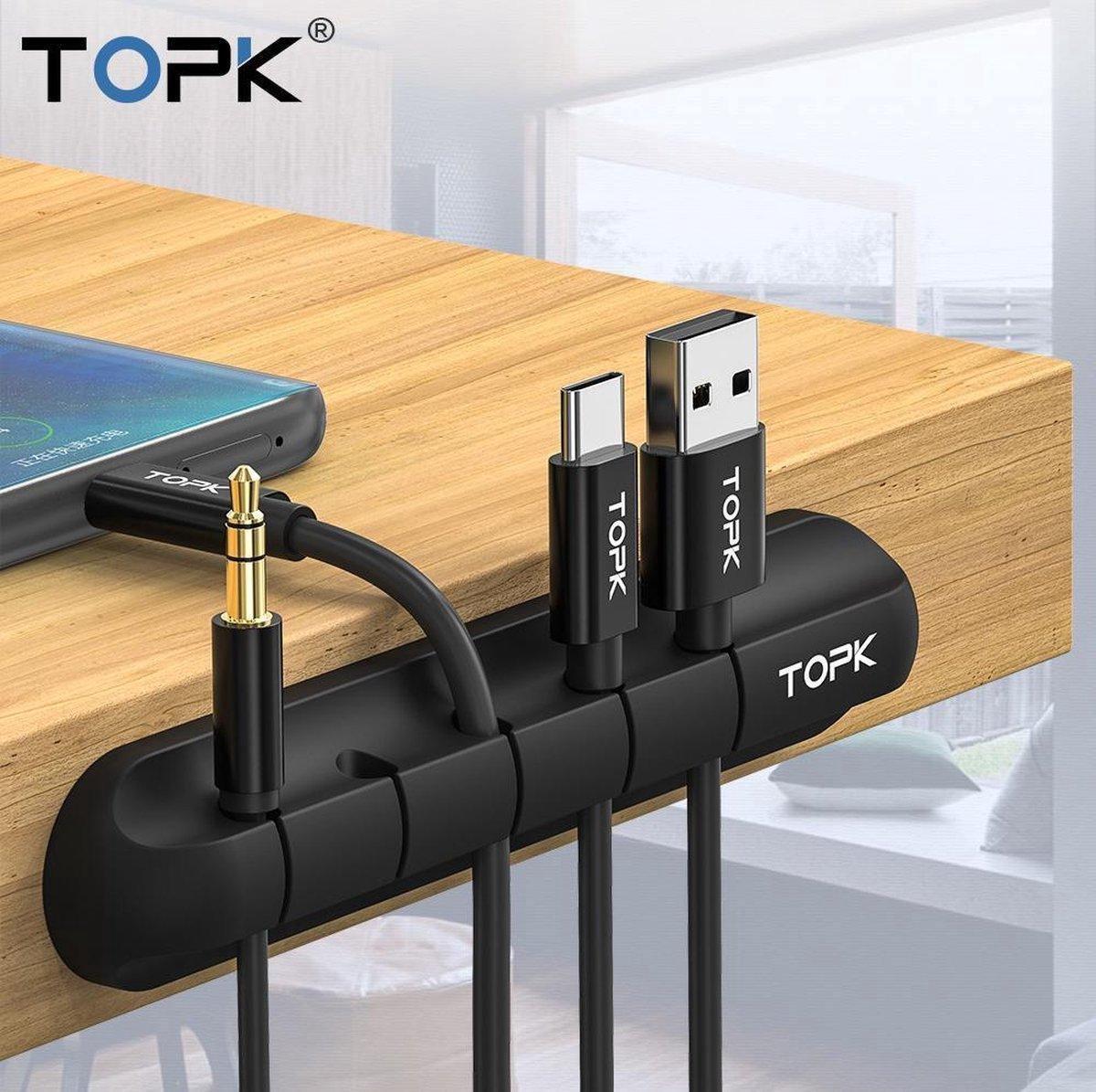 Zwarte kabelhouder, kabelclip voor 5 kabels, kabelorganizer, bureau organizer