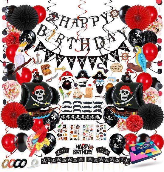 Fissaly® Piraten Feestartikelen Verjaardag Decoratie Feest Set – Piratenfeest Versieringen - Kinderfeestje Jongen & Meisje – Incl. Ballonnen, Piratenschip, Slingers, Verkleedkleren, Tattoos & Accessoires