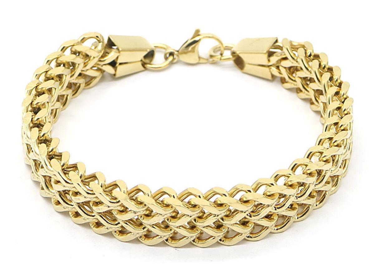 Dielay - Armband Dames - Brede Schakel - RVS - Lengte 19,5 cm - Goudkleurig