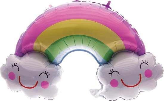 Folieballon regenboog met wolkjes | babyshower | Geboorte | lucht en Helium | 90cm | Feest | party | versiering | ballon