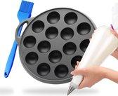Poffertjespan - Inc. Gratis Spuitzak + Kwast - Geschikt voor alle fornuizen - Poffertjesmaker - Poffertjespan inductie - Poffertjespan electrisch