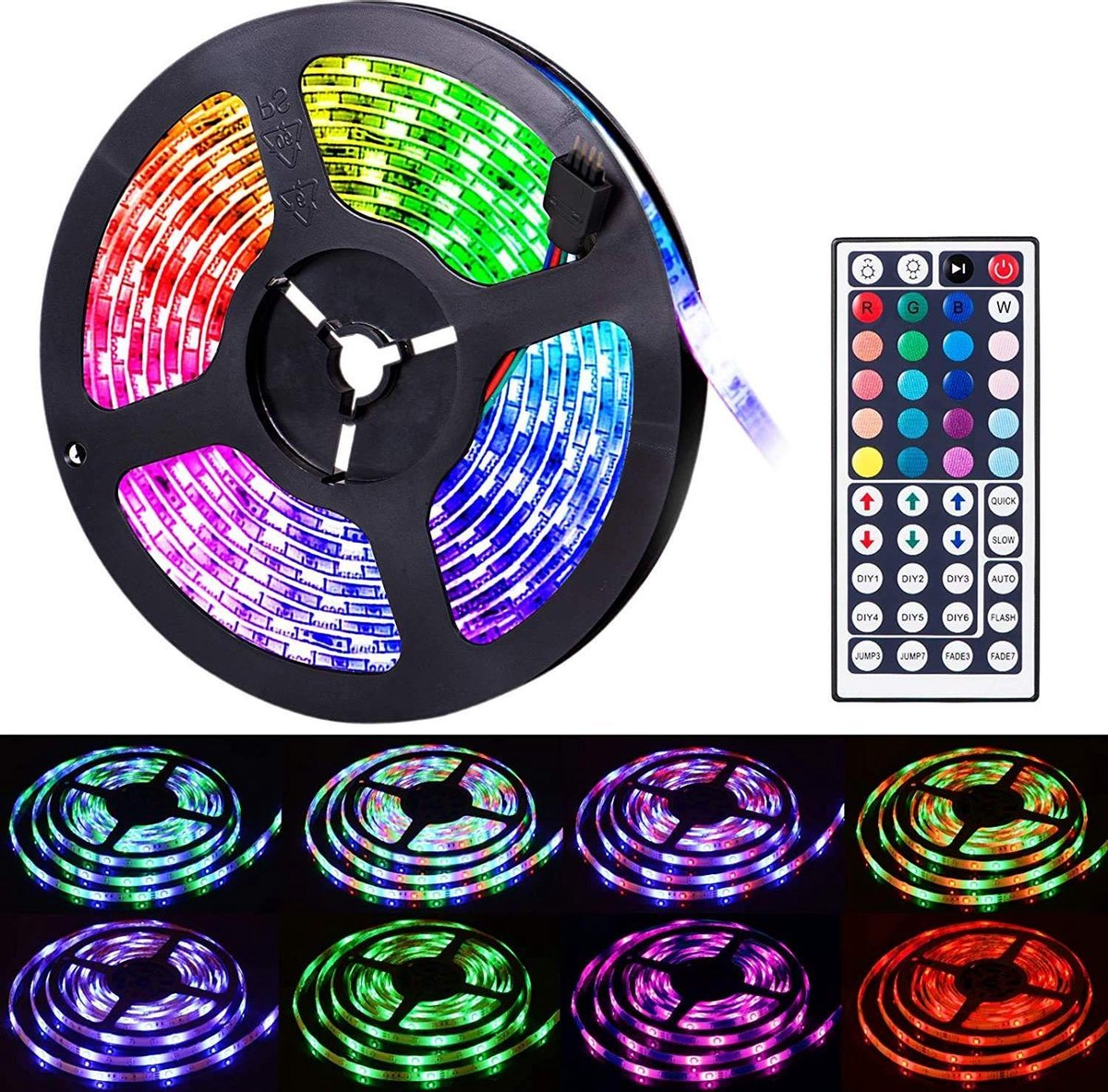 Ecommerce Deluxe RGB Led strip set - 10 Meter - Zelf klevend met afstandsbediening!