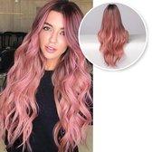 SassyGoods® Roze Pruik Ombre Kleur - Pruiken Dames - Wig - Verstelbaar - Lang Haar Golvend - 70 cm