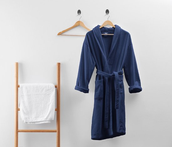 Dreamhouse Soft Terry - Badjas - Katoen badstof - L/XL - Donker Blauw - Ultra zacht en warm