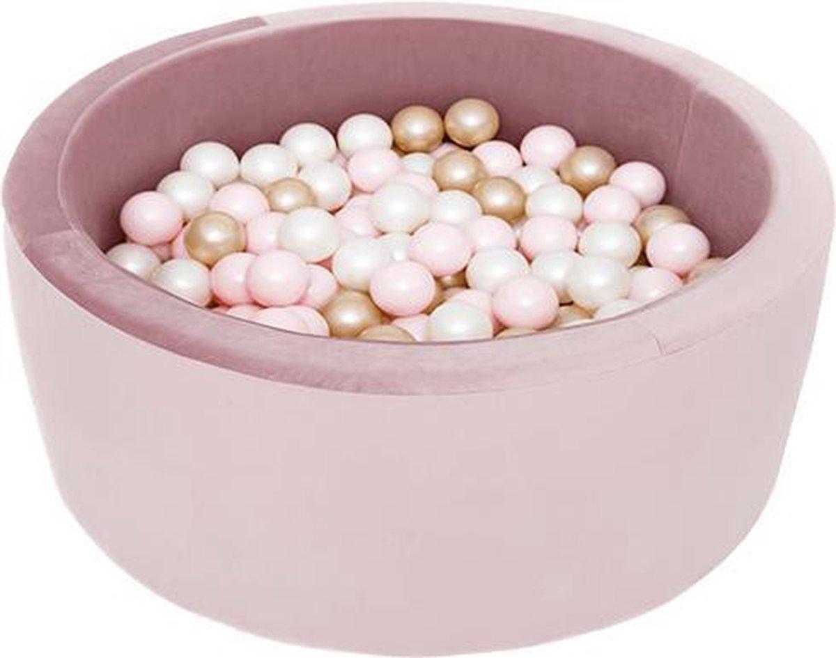 Ronde Ballenbad 90x40 Velvet Lila - Ballenbak met 300 ballen - Goud, Wit, Roze - Ballenbad baby - Ballenbak met ballen - Ballenbad Rond - Ballenbad