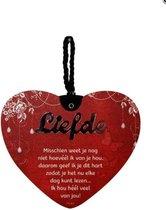 Liefdes hart Liefde misschien weet .... met een pakkende tekst - MDF - 14x17 - Geschenk