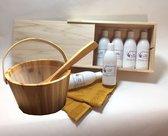 Cadeaupakket Saunageur opgiet: BOX 6x Sauna 250 ml met emmer, lepel, minicursus en handdoek