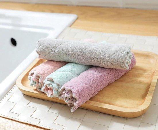 Vaatdoeken Roze/Grijs/Groen - 4 stuks - Vaatdoek - huishoudelijke schoonmaakmiddelen - Keuken accessoires - Schoonmaakdoekjes - Microvezel doekjes - Herbruikbaar - Kleurig - Theedoek