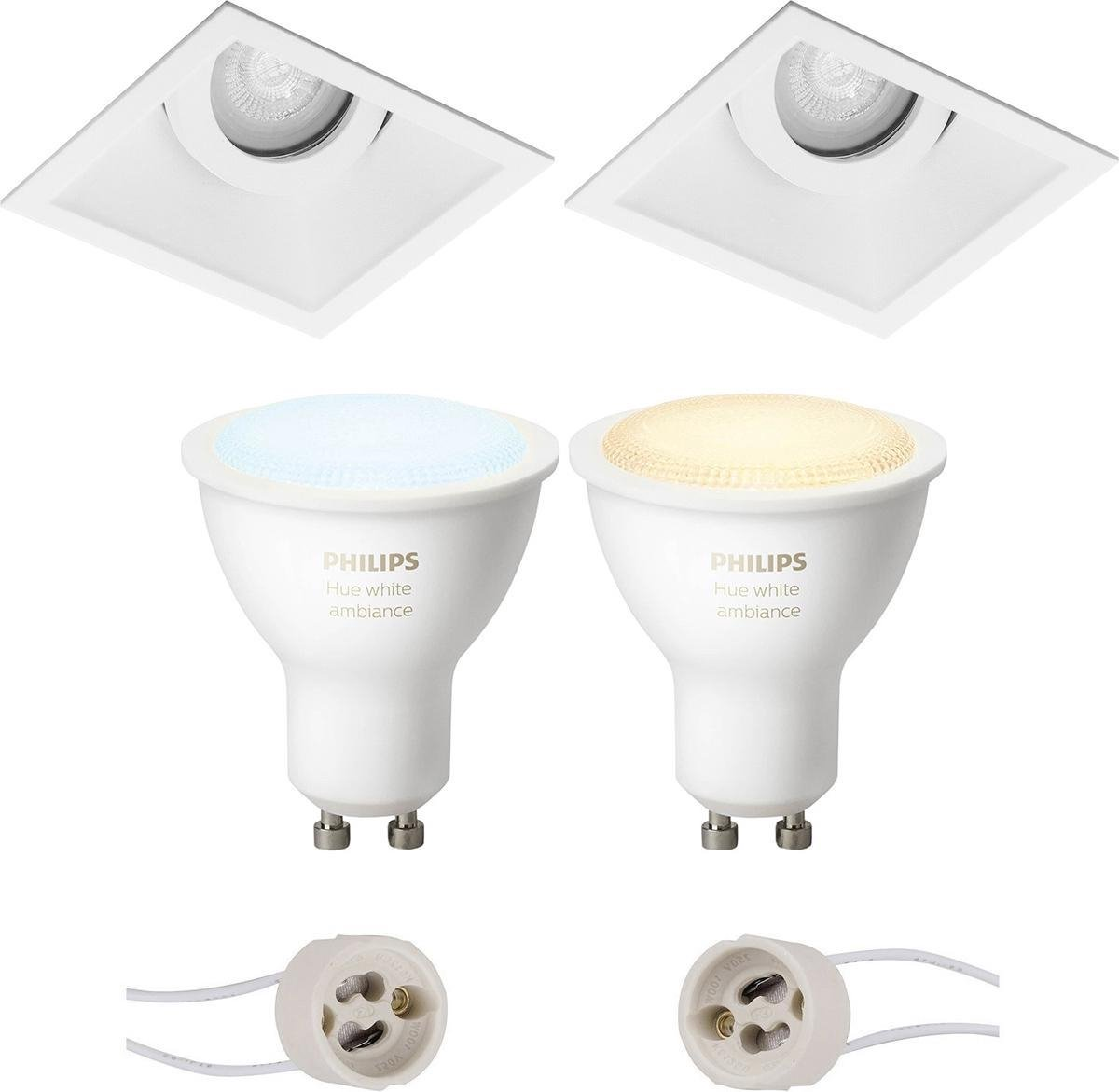 PHILIPS HUE - LED Spot Set GU10 - White Ambiance - Bluetooth - Pragmi Zano Pro - Inbouw Vierkant - Mat Wit - Kantelbaar - 93mm