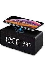 Digitale wekker QI - Draadloze oplader - QI Lader - Alarm - Wekker