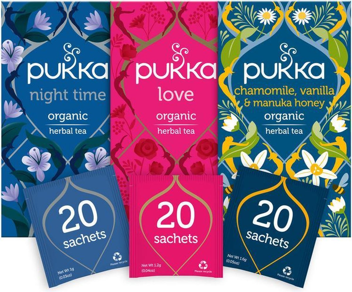 Pukka Relax Thee Bundel, 3 blends biologische kruiden thee voor ontspanning (3 x 20 zakjes)