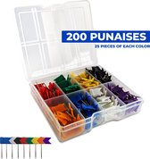 Hello Tomorrow® 200 st. Punaises Voor Prikbord - Vlagspeld - Knutselen - Wereldkaart - 8 Kleuren