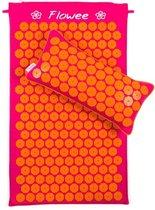 Flowee Spijkermat SET – Spijkermat met kussen - Fuchsia met oranje - Acupressuur mat – Acupressure mat