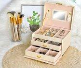 Sieradendoos - juwelenbox - opbergdoos juwelen - (licht-beige) -  met spiegel - 2 lades en verschillende vakjes