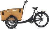 Elektrische bakfiets bakfietsen - fiets - eco - Qivelo Curve DR7 - unisex - matzwart - bruin - shimano versnelling