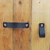 Handgreep zwart leer - complete set - Handmade in Holland