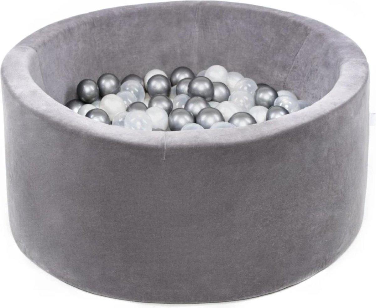 Ronde Ballenbad 90x40 Velvet Grijs - Ballenbak met 300 ballen - Grijs, Pearl, Zilver - Ballenbad baby - Ballenbak met ballen - Ballenbad Rond - Ballenbad