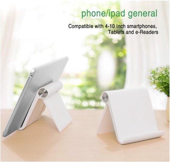 Universele standaard voor E- reader en telefoon - Telefoonhouder - WIT - Verstelbaar tot 100 graden