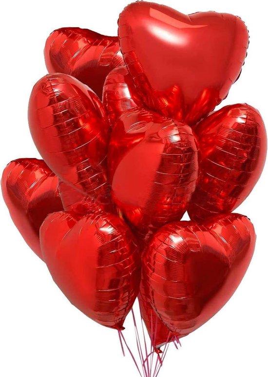 Hartjes Ballonnen Rood 5 Stuks   Folie Ballonnen set voor Valentijnsdag   Helium Ballon   Party Feest Blonnen   Romantische Versiering - 45cm