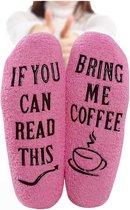 Fluffy Koffie Sokken - Huissokken - dames - one size - anti slip - Cadeau voor haar - grappig - Housewarming - Moederdag cadeautje - vrouw - verjaardag - moeder - mama
