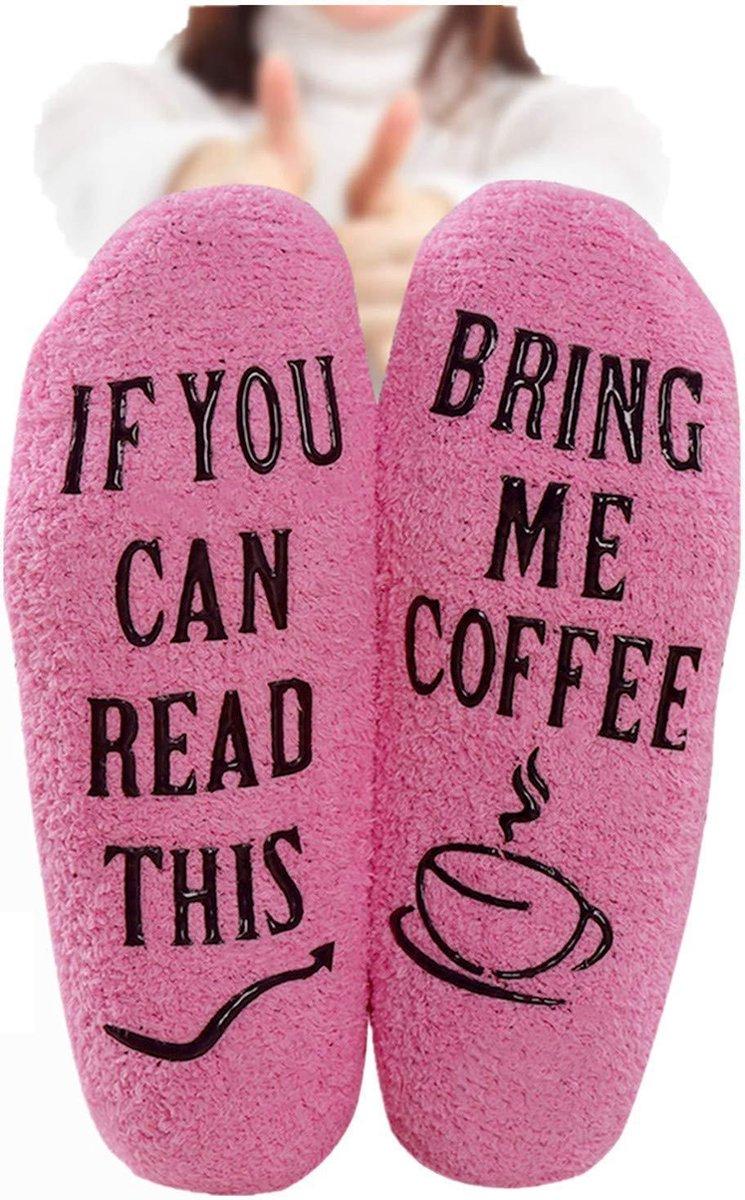 Fluffy Koffie Sokken - Huissokken - dames - one size - anti slip - Cadeau voor haar - grappig - Hous