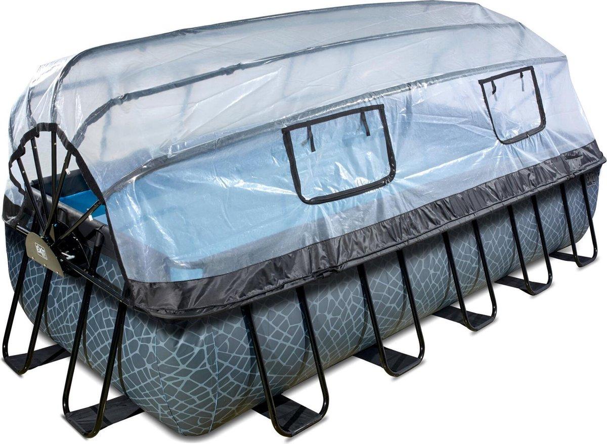 EXIT Stone zwembad 540x250x100cm met overkapping en filterpomp - grijs