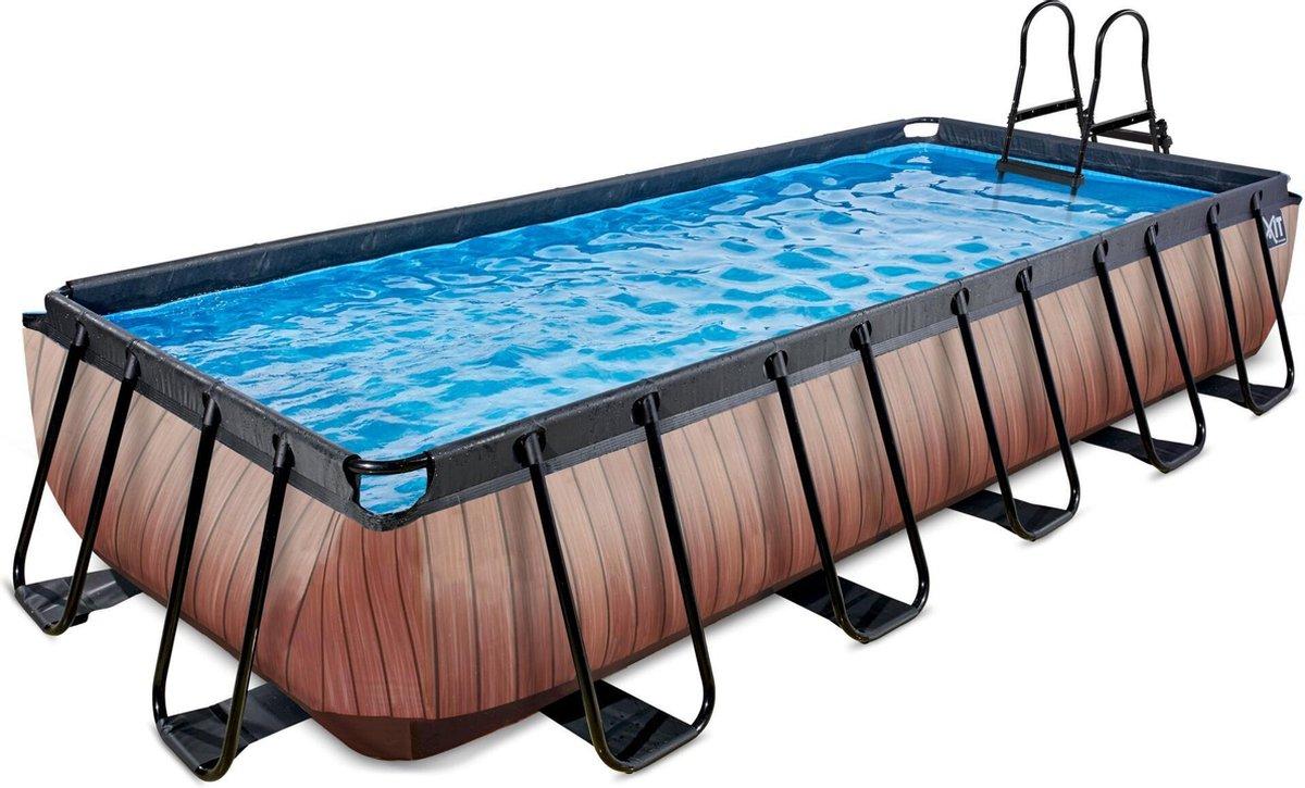 EXIT Wood zwembad 540x250x100cm met zandfilterpomp - bruin