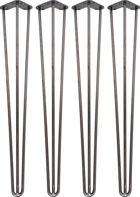 4 x 71cm - Hairpin Retro Pootjes / Tafelpoten / Pinpoten - 3 Ledig - Ruw Staal - Incl. Vloerbeschermers