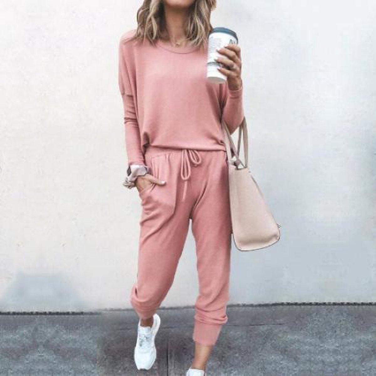 Joggingpak dames, huispak dames. Hamptons, kleur fuchsia/roze. Maat L