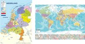Nederlandkaart en Wereldkaart Large posters duo set 2 kaarten aanbieding 70 x 100 cm.