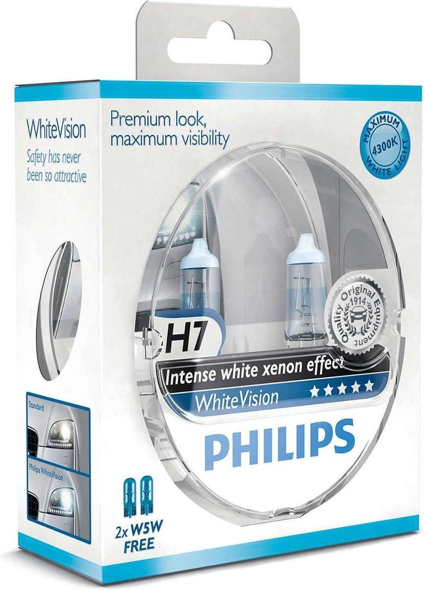 Philips White Vision H7 55W/12V - Voertuigverlichting - Halogeen Lampen - 2 stuks