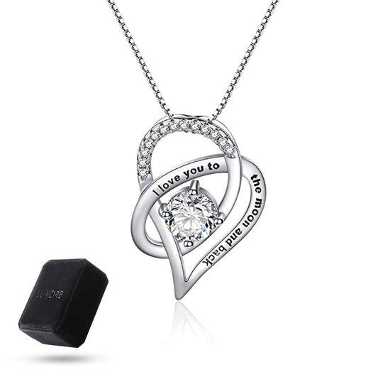 """Luxore® """"I love you to the moon and back"""" Ketting - Cadeautje voor Vrouw – Liefdes Verrassing - Geschenkset - Zilver - Valentijnsdag Man & Vouw - Valentijn Hem & Haar"""