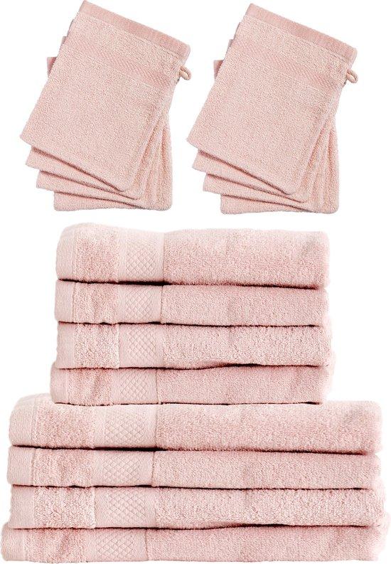 Set 4x Badhanddoeken 70x140 + 4x Handdoeken 50x100 + 8x Washandjes - Zacht Roze - Hotelkwaliteit