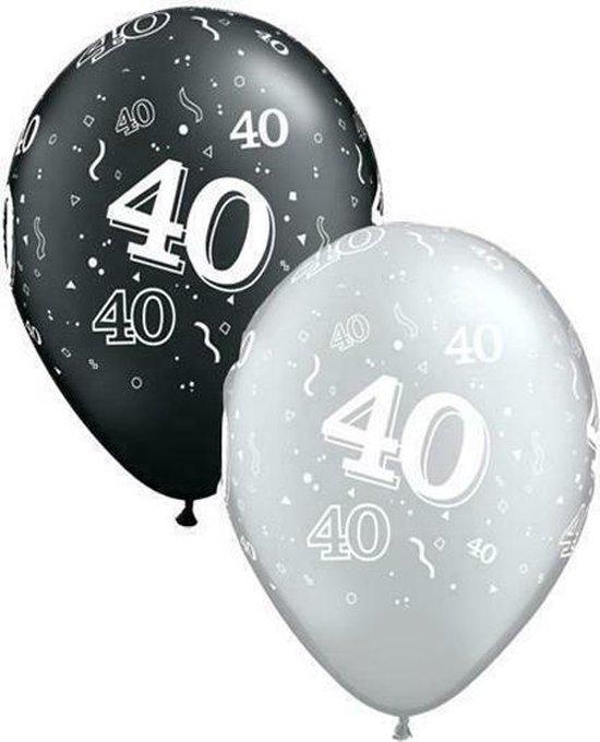 Ballonnen 40 Jaar Zilver en Zwart 28 cm 25 stuks