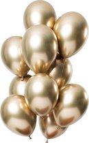 Luxe Chrome Ballonnen Goud 10 Stuks - Helium Ballonnenset Metallic Gold Feestje Verjaardag Party
