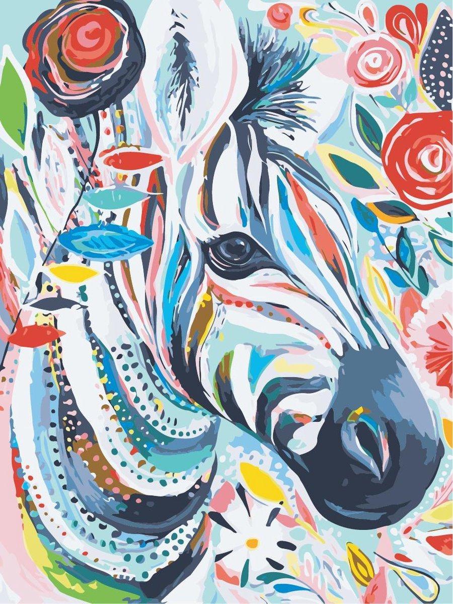 Schilderen op nummer voor volwassenen | Canvas op Frame / Doek op Frame 40 x 50 cm groot | Zebra | Dier | Compleet Hobby Pakket | Acryl verf + verfkwasten | DIY schilderij | Paint by numbers | Cadeauset verf op nummers | Valentijn | Valentijnsdag