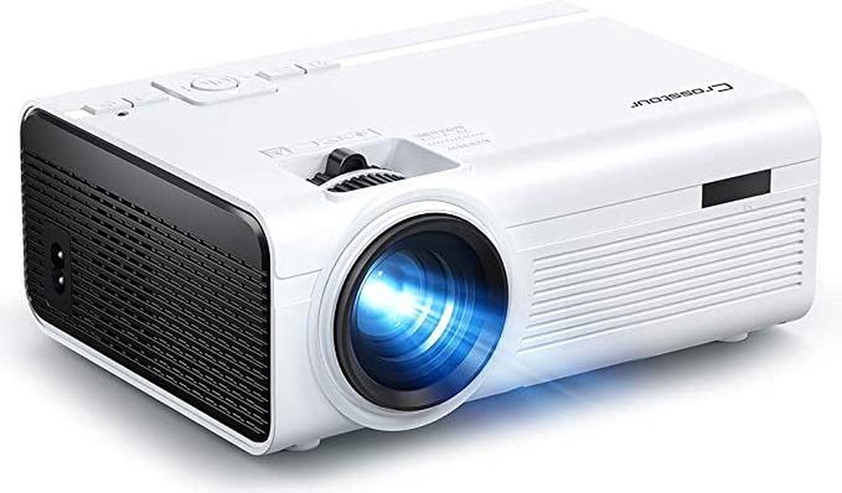 Beamer, Mini – Video Crosstour Full HD Ondersteunt Home Theatre-projector LED Mobiele telefoon Draagbare projector Compatibel met Chromecast / Android / TV Box / Tablet
