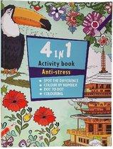 kleurboek 4 in1 anti/stress boek voor volwassen 56  pagina's kleuren en volg de cijfers
