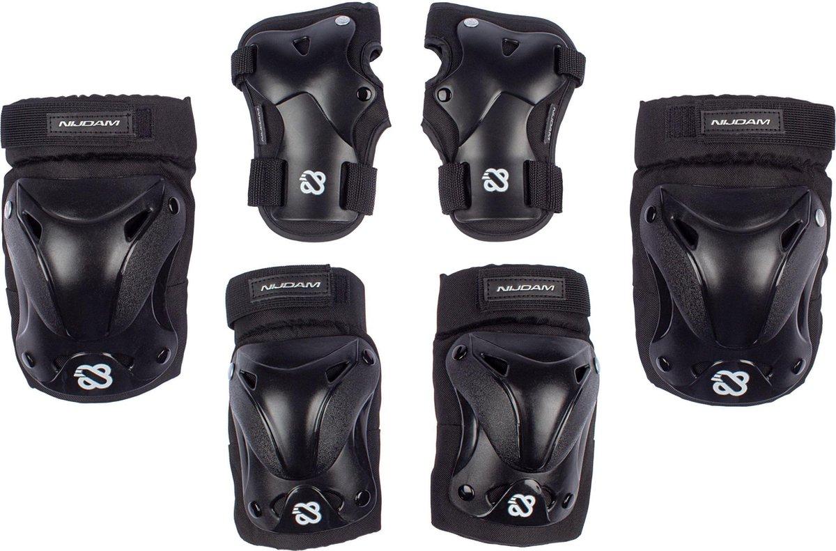 Nijdam Skate Beschermset Volwassenen - Ink Shield - Zwart/Zilvergrijs - L