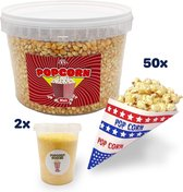2 KG Popcornmais - inclusief 800 gram popcorn suiker en ± 50 popcorn mais puntzakjes - startpakket