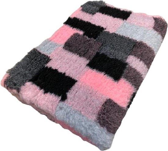 Vetbed - Dierenmat - Dierenkleed - Hondenkleed - Patchwork Roze Grijs Zwart - latex anti-slip 150 x 100 cm - Machine wasbaar