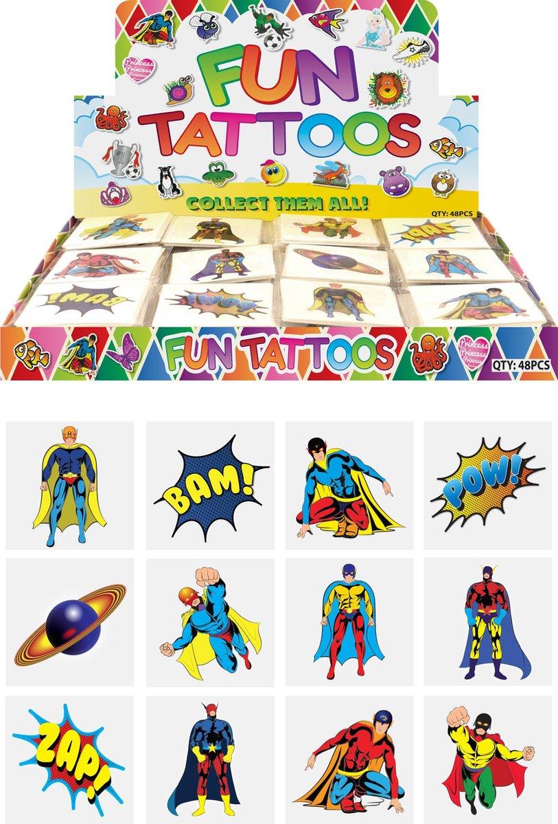 Tattoos kinderen - SuperHeroes - Tijdelijke tattoo SUPER HEROES voor jongens - 60 stuks / FUNARTIKEL
