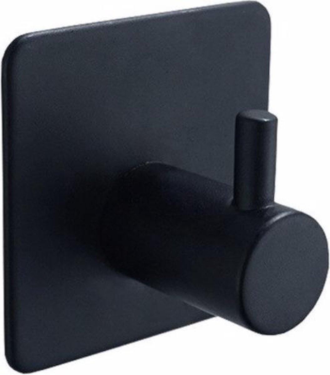 WiseGoods - Handdoekhaakjes - Zelfklevend - Hanger voor Badkamer - Muur haakjes - Hanger voor Keuken -Zwart - 2 stuks