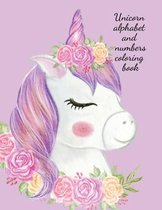 Unicorn alphabet and numbers coloring book