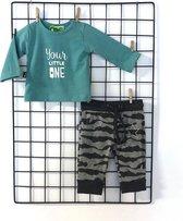 Set broek met print en shirt groen 50-56