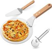 Able & Borret | Pizzaschep | Pizza schep | Taartschep | Pizzaspatel | Pizzaroller | Pizzasnijder | Rond | Aluminium | Lengte 43 cm