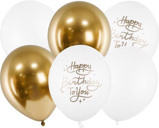 "Luxe ballonnenset 6 ballonnen 30cm ""Happy Birthday"" chrome goud en wit"